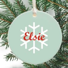 Ceramic Christmas Tree Decoration - Snowflake Design - Xmas Tree Bauble Personalised With Name